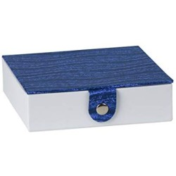 """Hammont Blue Gift Box with Snap Closure (3 Pack) - 5.9""""X5.9""""X1.8"""" Jewelry Box, Storage Display Organizer Cardboard Chrome Button Boxes Best for Birthday, Anniversary, Wedding Gifts"""