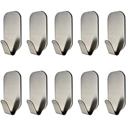 10 Pcs Adhesive Hook (Hold 8 lb Each) Heavy Duty 304 Stainless Steel Hanging for Bath Towel Coat Hat Hooks Kitchen Wall Storage Organizer