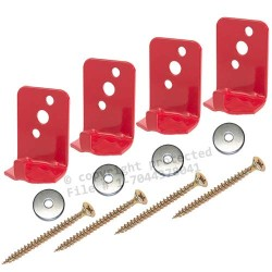 (4 Pack) - Universal Fire Extinguisher Wall Hook, Mount, Bracket, Hanger for 5 Lb. Extinguisher - FREE SCREWS & WASHERS INCLUDED