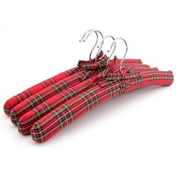 10 Pcs Red Plaid Fabric Padded Clothes Hanger, Non Slip Checked Style Fabric Coats Shirt Dress Hanger for Closet