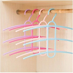 10 pcs Creative Home Three-Layer Hangers 4 Colors Three Layer Anti-Skid Plastic Clothes Hanger for Household Pants Rack Hangers Random Color