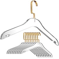Designstyles Clear Acrylic Clothes Hangers - 10 Pk Stylish and Heavy Duty .5 inch Thick Premium Quality Closet Clothing Organizer with Gold Chrome Plated Steel Hooks - Non-Slip Notches