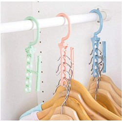 10pcs Random Color Hanger for Clothes Modern Style, One Hanger Can Hold 5 Clothing Suit, for Clothes Collector and Beautiful Lady Save Wardrobe Space
