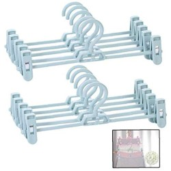 10 Pcs Plastic Cloth Hangers with Non-Slip Big Clips Closet Organizing Tool Saving More Space for Slack Trouser Jeans Towels