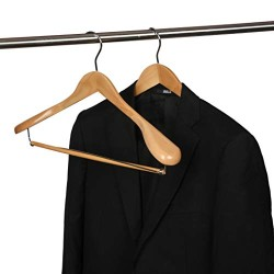 2 Quality Luxury Wooden Suit Hangers Wide Wood Hanger for Coats and Pants with Locking Bar Great for Travelers Heavy Duty(2, Natural Finish)