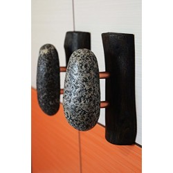 1 Pcs Black Oak towel hanger. Towel Rack. Hanger with Beach Stones on oak Branch. Solid wood coat rack with river Stone and Copper pins.