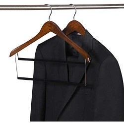 2 Quality Tow-Tone Wooden Suit Hangers with Velvet Pants Bar Smooth Finish Solid Wood Coat Hanger with 360° Swivel Hook - Camisole, Jacket, Pant, Dress Clothes Hangers (Retro, 2)