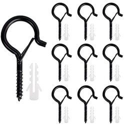 Benvo 10 Pieces Outdoor Q-Hanger Easy Release Screw Wire Hanger Hooks Christmas Light Hooks with Safe Buckle for String Lights New Year Party Outside Led Wire and Fairy Light Hangers for House Garage