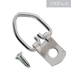 100 Pack Heavy Duty D-Ring Picture Hangers with Screws for Hanging Clock Paintings Artwork Picture Frame Hook Photo Mirrors - Pro Quality Single Hole D-Rings
