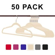 Non-Slip Velvet Clothes Hangers Premium Heavy Duty Space Saving with 360 Swivel &Rose Gold Hanger Hook for for Dress, Coats, Jackets, Pants, Shirts, Skirts (Pack of 50)