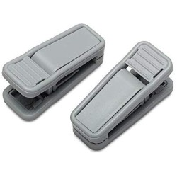 HOUSE DAY 20 Pack Plastic Finger Clips for Hangers, Grey Pants Hanger Clips, Strong Pinch Grip Clips for Use with Slim-line Clothes Hangers, Clips for Velvet Hangers