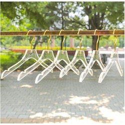 10 Pcs Luxury Clear Acrylic Crystal Clothes Hanger with Gold Hook, Transparent Shirts Dress Hanger with Notches Decoration