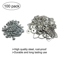100 Pack Small D-Ring Steel Picture Hangers with Screws Picture Frames Picture Hang Solutions, for Hanging Clock Paintings Artwork Picture Frame Hook Photos