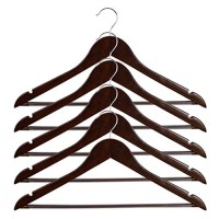 ALPHA HOME 20 Pack Wooden Hangers Premium Solid Suit Coats Pants Hangers for Gentleman - Walnut