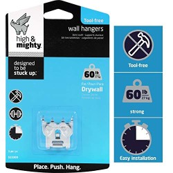 """&quotHIGH & MIGHTY 515303 Tool Free Picture Hanger, 1 Piece, 60 LB  Limit, Silver"""""""