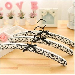 10 Pcs Fancy Gold Black Lace Fabric Padded Hanger for Wedding Dress, Beautiful Lace Satin Clothes Coats Hanger Rack for Bride Random Color