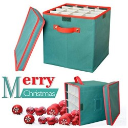 2win2buy Christmas Ornament Storage Box Containers Adjustable 64 Compartment Cube Organizer with Dividers Xmas Storage Chest Keeps Holiday Decorations Clean and Dry for Next Season 12x12x12 - Green