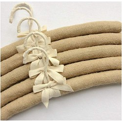 10pcs 38cm Anti Slip Jute Wrapped Clothes Hangers for Women Foam Sweater Thick Padded Coat Hangers for Bridesmaid Wedding Gown Closet