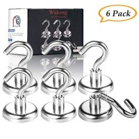 Wukong Magnetic Hooks, Premium 78LB Neodymium Heavy Duty Magnetic Hooks,Indoor/Outdoor Magnet Hanging Hook for Home, Kitchen, Workplace, Office and Garage-6 Pack