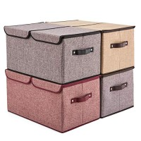 Large Lidded Storage Boxes [4-Pack] EZOWare Linen Fabric Foldable Cubes Bin Box Containers with Lid/Handles for Home, Office, Nursery, Toys, Closet, Bedroom, Living Room - Assorted Color