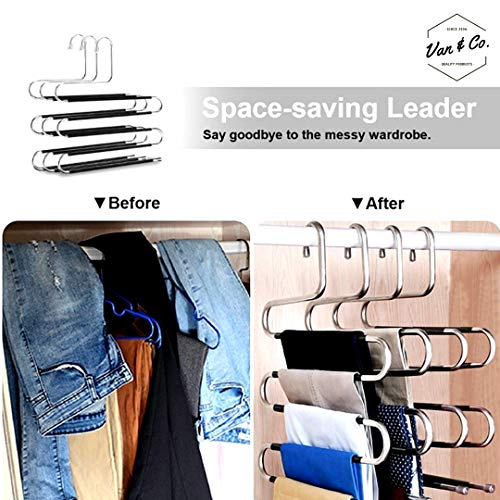 (6 Pack) Pants Hangers Non Slip S-Shaped 5 Layers Hangers, Closet Space Saver for Jeans Scarfs Ties and Other Clothes by Van & Co.