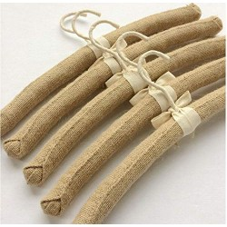 10pcs Anti Slip Jute Padded Clothes Hangers for Women Foam Sweater Thick Padded Coat Hangers for Wedding Gown Closet 38cm