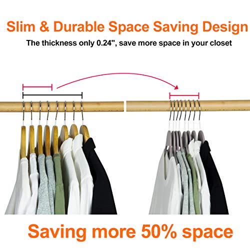 Elong Home Plastic Clothes Hangers, Upgraded Rubberized Plastic Hangers Non Slip, Non Velvet Durable Slim Clothing Hangers, 17.7 Inches Wide for Adults Clothes, 20 Pack