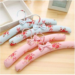 10 Pcs Pink Blue Fabric Padded Clothes Hanger with Rustic Flower Printed, Idyllic Style Dress Shirts Hanger for Closet Bedroom Random Color