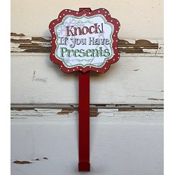 AG Designs Christmas Decor - Red Knock If You Have Presents Wreath Door Hanger