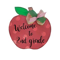 Apple Wood Door Hanger, Teacher Sign with Personalized Name and Grade, Teacher Gift, Back to School Classroom Decoration