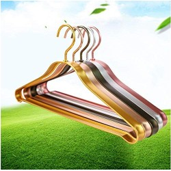 10pcs Random Color Aluminum Alloy Hanger for Clothes Can be Used 20 Years Space Aluminum No Fluorescent Agent Non-Slip hangger in Home Storage