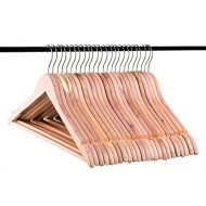 Neaties American Cedar Wood Hangers with Notches and Bar for Fresh Closet, 24pk