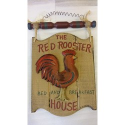 """&quotThe Red Rooster Bed and Breakfast House"""" Wooden Plaque with wire hanger and red and green wooden toggle connected with rope. Country Cabin decor w/ wooden red rooster measures 12 1/2x8 1/4"""