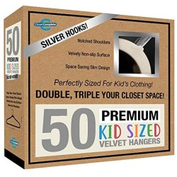 Closet Complete Kids Size, Premium Heavyweight, Virtually-Unbreakable, Velvet Hangers ? Ultra-Thin, Space Saving, No-Slip, 360? Spin, Perfectly Sized for Kids 4-15 Years, Ivory, Set of 50