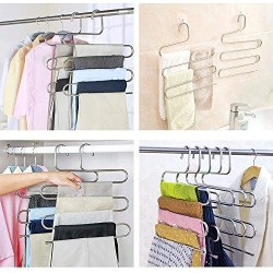 2 Pack Pants Hangers, S-Type Closet Organizer & Stainless Steel Multi Layers Magic Hanger, Space Saver Clothes Rack, Tiered Hanging Storage for Jeans, Scarf, Skirt - (14.17 x 14.96 Inch)