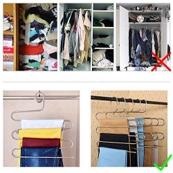 3 Pack Pants Hangers, S-Type Closet Organizer & Stainless Steel Multi Layers Magic Hanger, Space Saver Clothes Rack, Tiered Hanging Storage for Jeans, Scarf, Skirt - (14.17 x 14.96 Inch)