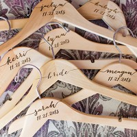 Personalized Wedding Hangers for Bridesmaids for Dresses Accessories for Bridal Party Engraved Names Wooden Dress Hanger Sets for Wedding Bride & Bridesmaid
