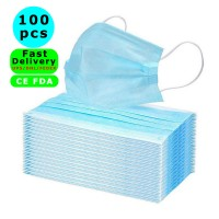 Fast Delivery CE FDA Disposable Surgical Mask Dust Breathable Earloop Antiviral Face Mask, Medical Sanitary Surgical Mask Thick 3-Layer Masks, 100 pcs