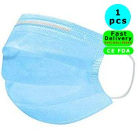 1 pcs Disposable Face Mask Safety Mask Dust for Medical Dental Salon and Personal Health, 3-Ply Ear Loop in stock Fast Quick delivery by DHL/UPS/Fedex