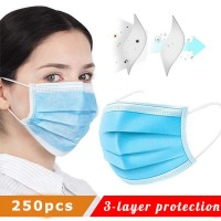 Disposable Face Masks with Elastic Ear Loop 3 Ply Breathable and Comfortable Dust Mask Daily Personal Health Mask(Pack of 250pcs) fast delivery dhl ups fedex