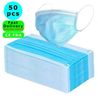 50Pcs Fast Delivery Disposable Face Masks - Disposable Surgical Mask Dust Breathable Earloop Antiviral Face Mask, Comfortable Medical Sanitary Surgical Mask Thick 3-Layer Masks