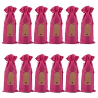 Deep Pink 12 Pcs Burlap Wine Bottle Gift Bags with Drawstrings, Tags & Ropes, Reusable Wine Bottle Covers for Christmas, Wedding, Birthday, Travel, Holiday Party, Housewarming, Home Storage