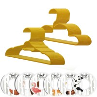 30 Pack Children Hangers with 6 Pcs Baby Closet Dividers, Heavy Duty Yellow Plastic Hangers Set for Kids and Baby Clothes